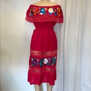 Hot pink Mexican dress